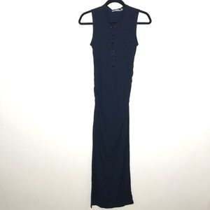 Athleta Size XS Navy Blue Rib Henley Maxi Dress